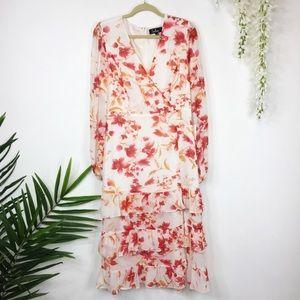LULU'S floral dress long sleeves v-neck